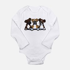 Three Boxer Lover Long Sleeve Infant Bodysuit