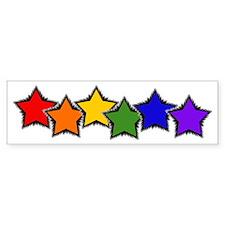 Gay & Lesbian Rainbow Stars Bumper Car Sticker