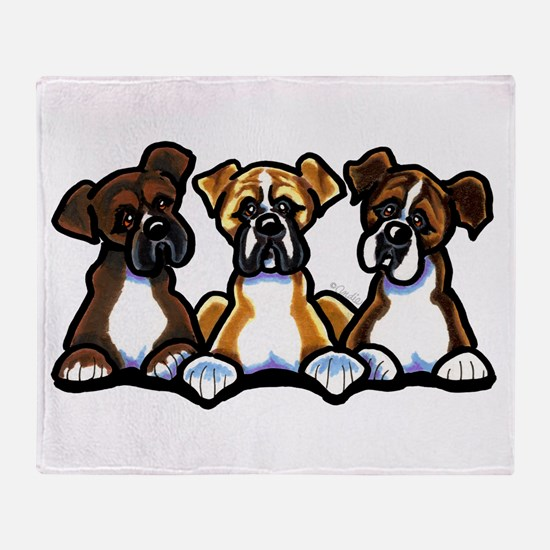 Three Boxer Lover Throw Blanket