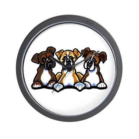 Three Boxer Lover Wall Clock