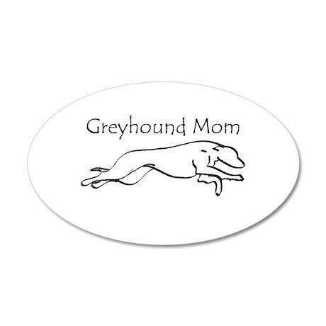 Greyhound Mom 38.5 x 24.5 Oval Wall Peel