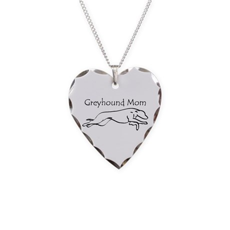 Greyhound Mom Necklace Heart Charm