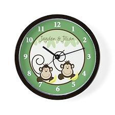 Silly Monkeys Wall Clock - Jayden and Jillian