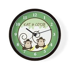 Silly Monkeys Wall Clock - Kat & Cody