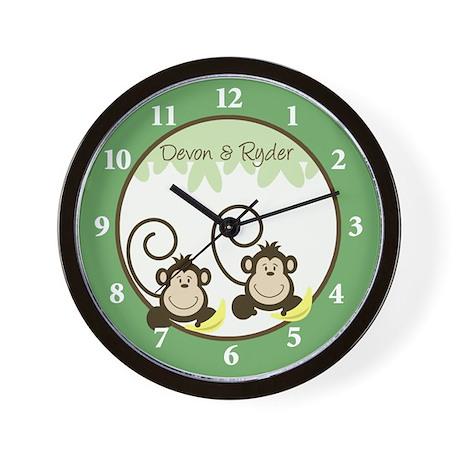 Silly Monkeys Twins Nusery Wall Clock