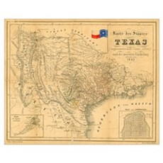 1849 antique Map of Texas, Poster