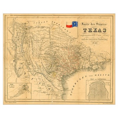 1849 antique Map of Texas, Framed Print