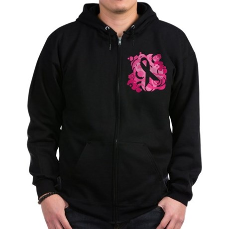 Abstract Art Pink Ribbon Zip Hoodie (dark)
