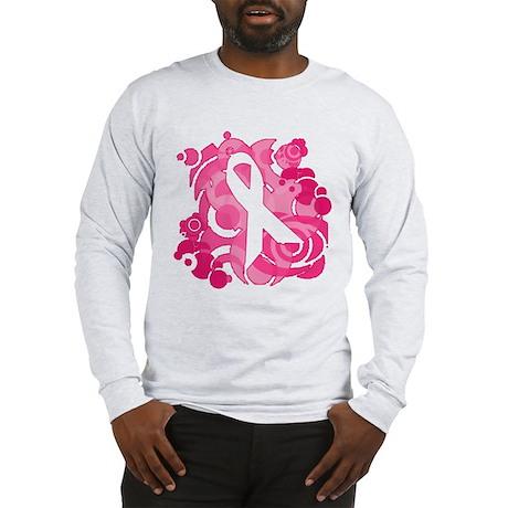 Abstract Art Pink Ribbon Long Sleeve T-Shirt