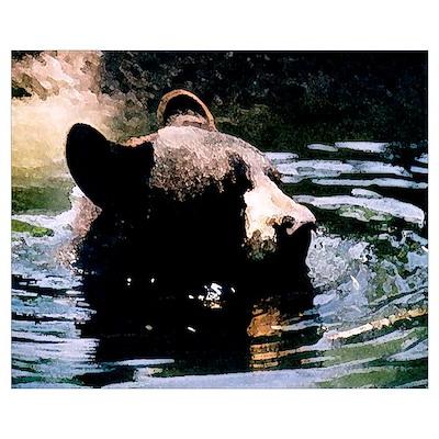 Bear swimming Poster