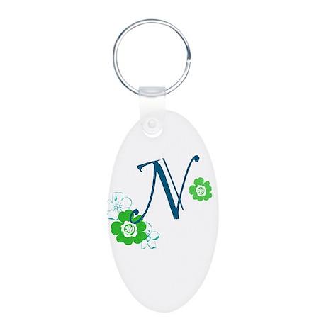 N Aluminum Oval Keychain