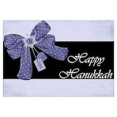 Happy Hanukkah Blue Ribbon an Poster
