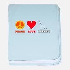 Peace Love Hockey baby blanket
