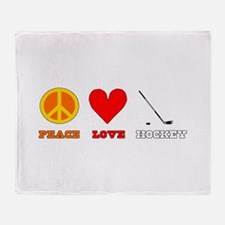Peace Love Hockey Throw Blanket