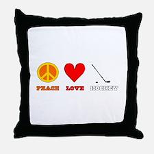 Peace Love Hockey Throw Pillow