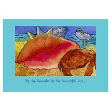 At the Beach-Gulls, Shells, C Poster