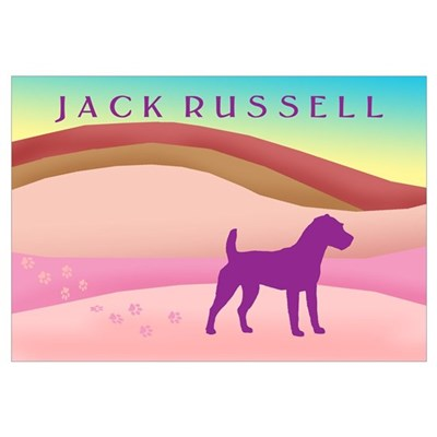 Jack Russell Pink Hills Canvas Art