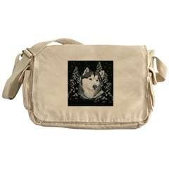 Alaskan Malamute with Snow Messenger Bag