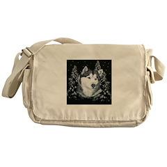 Alaskan Malamute with Snow Messenger Bag