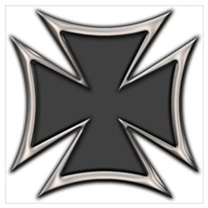 Chrome Black Biker Cross Poster