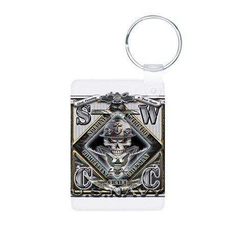 USN SWCC Silver Skull Aluminum Photo Keychain
