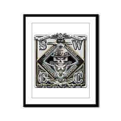 USN SWCC Silver Skull Framed Panel Print