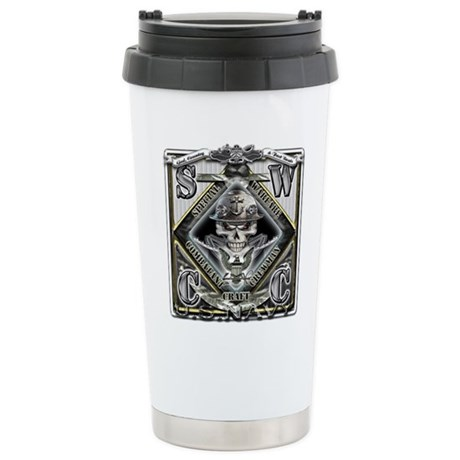 USN SWCC Silver Skull Stainless Steel Travel Mug