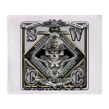 USN SWCC Silver Skull Throw Blanket