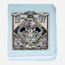 USN SWCC Silver Skull baby blanket