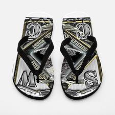 USN SWCC Silver Skull Flip Flops