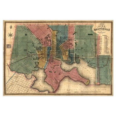 Map of Baltimore, MD- 1882. (Size: 14 x 6 in) Framed Print