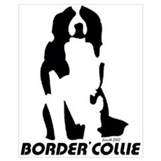Border Collie Line Art - Sitting Prin Framed Print