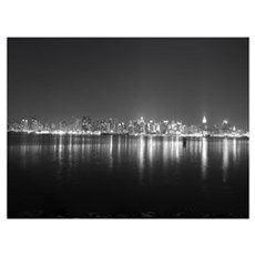 Midtown, At Night Framed Print