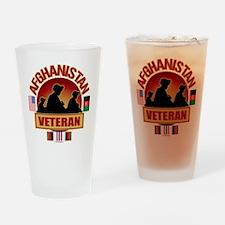 Afghanistan Veteran Flags Drinking Glass