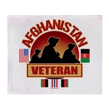 Afghanistan Veteran Flags Throw Blanket