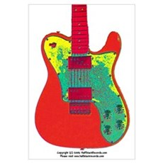 """Neon Red"" Guitar Framed Print"