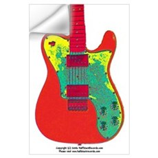 """Neon Red"" Guitar Wall Decal"