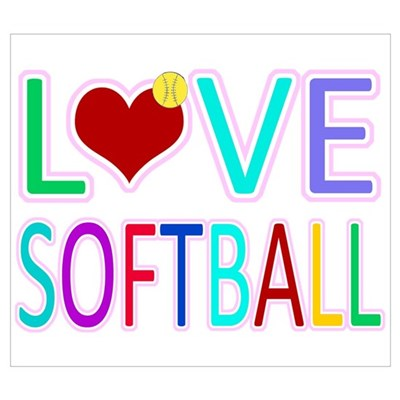 LOVE SOFTBALL Framed Print