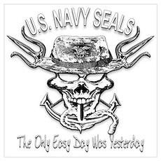 USN Navy Seal Skull Black and White Poster