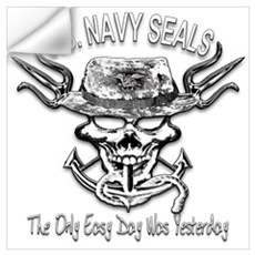 USN Navy Seal Skull Black and White Wall Decal