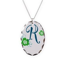 Letter R Necklace Oval Charm