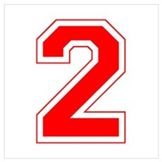Varsity Font Number 2 Red Framed Print