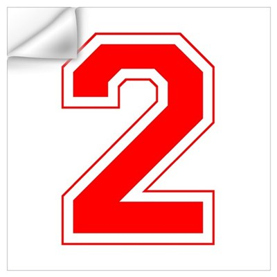 Varsity Font Number 2 Red Wall Decal