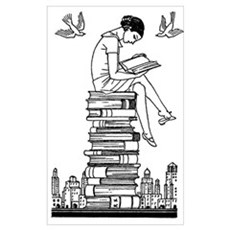 Girl reading atop books Framed Print