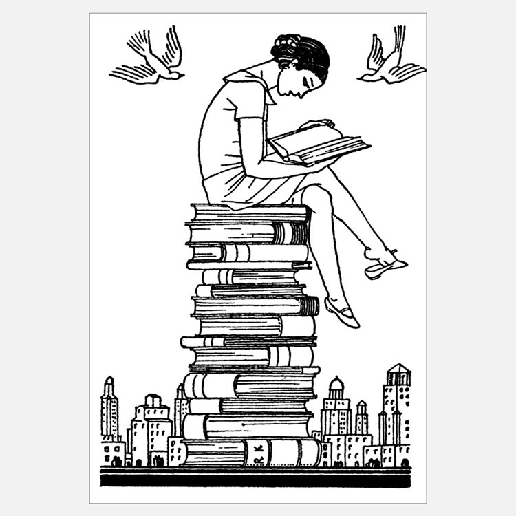 Girl reading atop books
