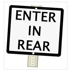 ENTER IN REAR Sign Poster