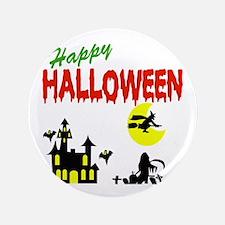 "Halloween Haunted House 3.5"" Button"