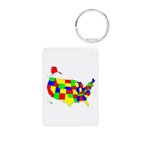 MAP OF AMERICA Aluminum Photo Keychain
