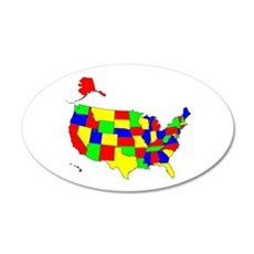 MAP OF AMERICA 22x14 Oval Wall Peel
