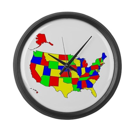 MAP OF AMERICA Large Wall Clock